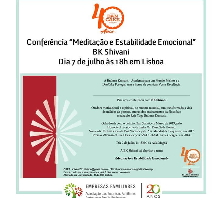 """Conferência """"Meditação e Estabilidade Emocional"""" com BK Shivani"""